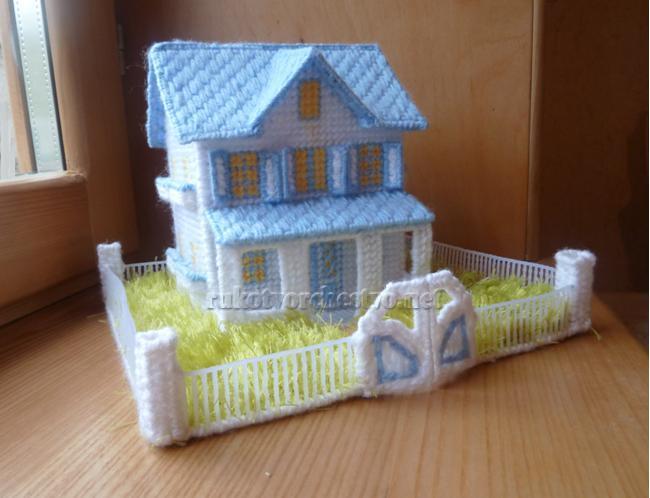 Вышивка на пластиковой канве домики схема